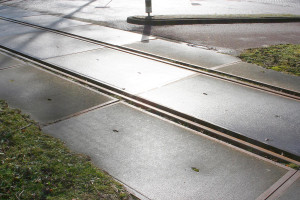 Tramrails in de zon